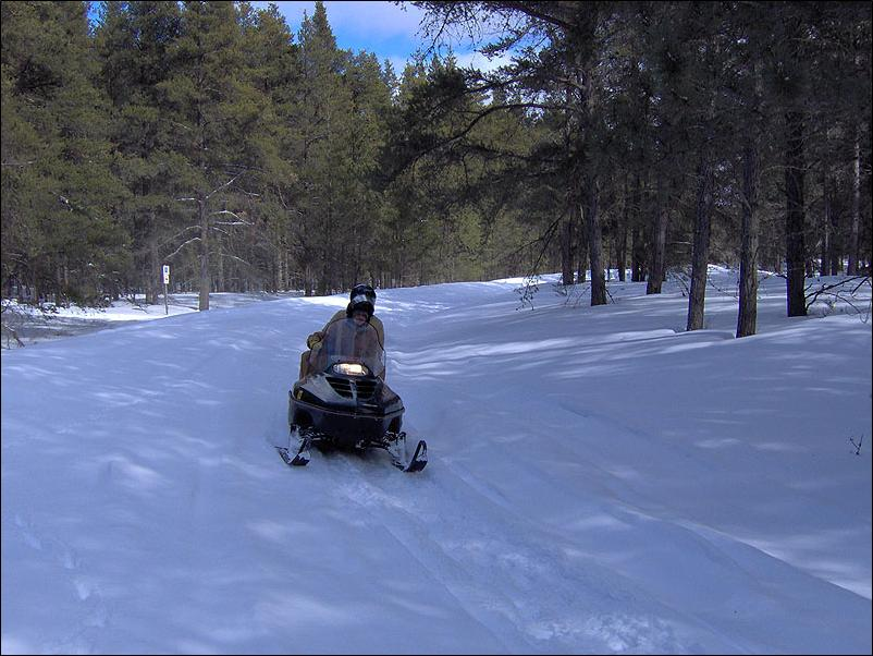 Snowmobile trail riding